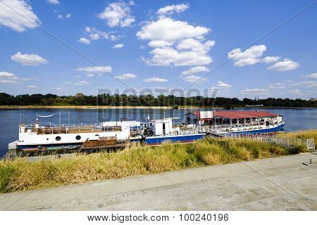 River Cafe On The Vistula River In Warsaw, Poland