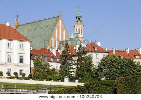 Warsaw's Old Town With A Visible The Church Spire