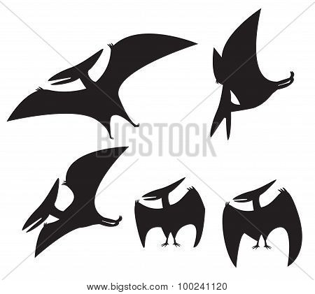 Set Of Pterodactyl Silhouette