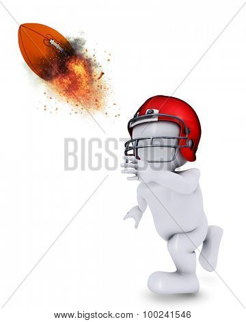 3D Render of Morph Man playing american football and throwing a flaming ball