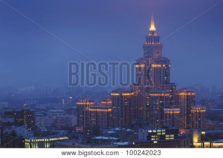MOSCOW, RUSSIA - JAN 31, 2015: Residential complex Triumph Palace at night. Building height is 264 meters