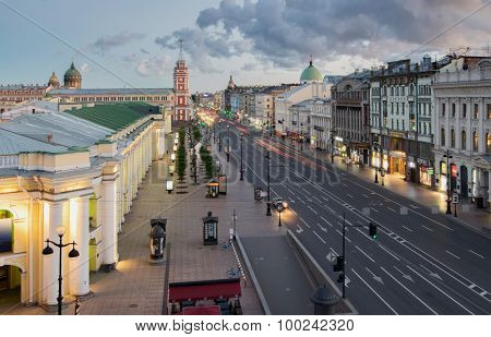 ST. PETERSBURG, RUSSIA - JUNE 16, 2015: Nevsky Prospect - main street of St. Petersburg