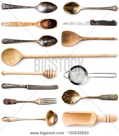 photo collage of wooden or metal kitchen utensils isolated on white background