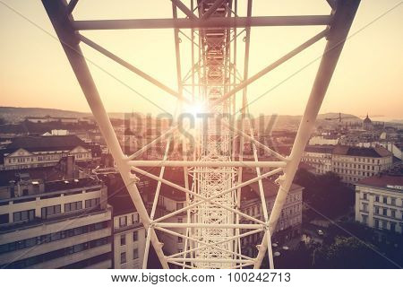 view on sunset in Budapest from ferris wheel