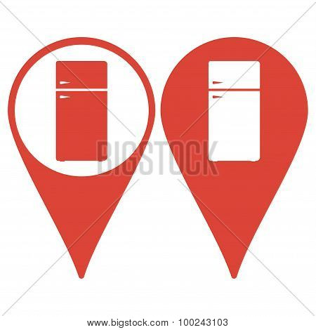 Map Pointer. Icon Of Refrigerator On Glossy Button. Eps-10