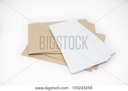 Brown and white envelopes isolated on a white background