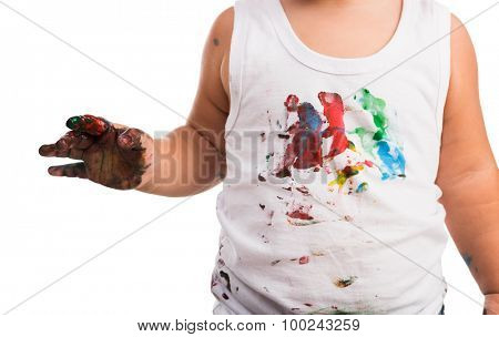 close-up of kid's painted white shirt and hand