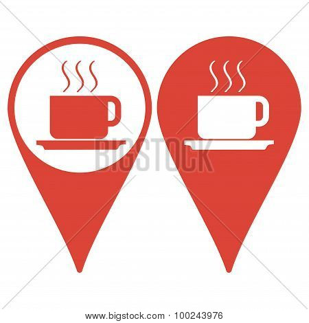 Map Pointer. Coffe Vector Illustration. Flat Design Style
