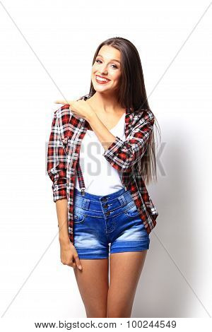 Attractive Woman Presenting Something