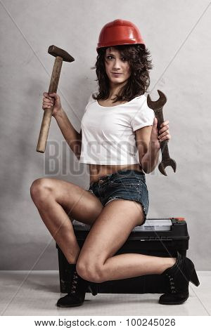 Sexy Girl Mechanic Working With Tools.