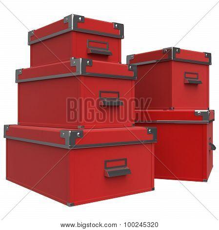 Boxes, handles, chrome. 3D graphic
