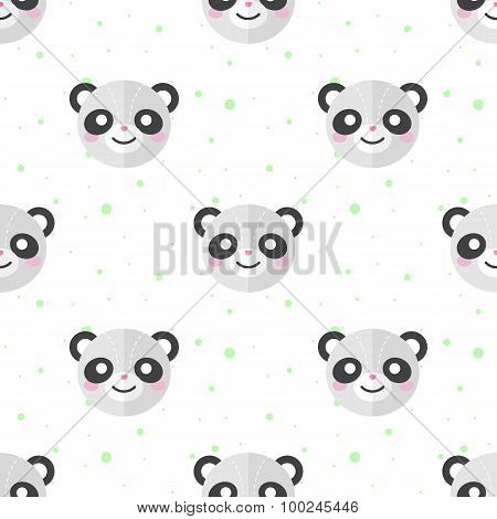 Vector flat cartoon panda heads seamless pattern. Animal background.
