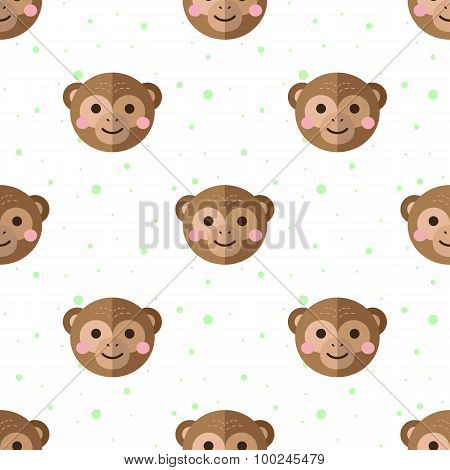 Vector flat cartoon monkey seamless pattern. Chimps background.