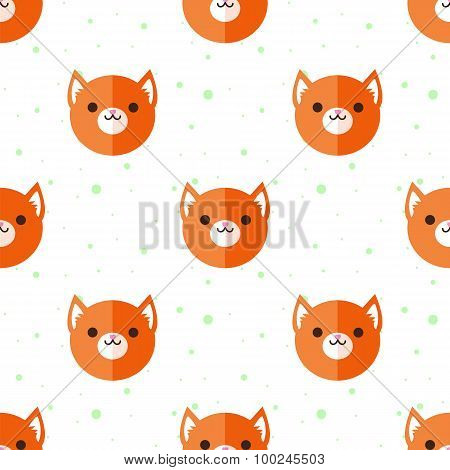 Vector flat cartoon fox heads seamless pattern. Animal background.