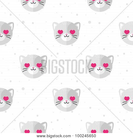 Vector flat cartoon cat in love seamless pattern. Animal background.