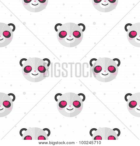 Vector flat cartoon panda in love seamless pattern. Animal background.