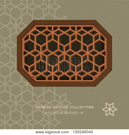 Chinese window tracery polygon frame 16 star flower
