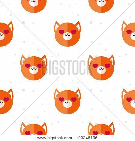 Vector flat cartoon fox in love seamless pattern. Animal background.