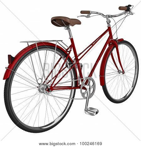Classic bike with luggage. 3D graphic