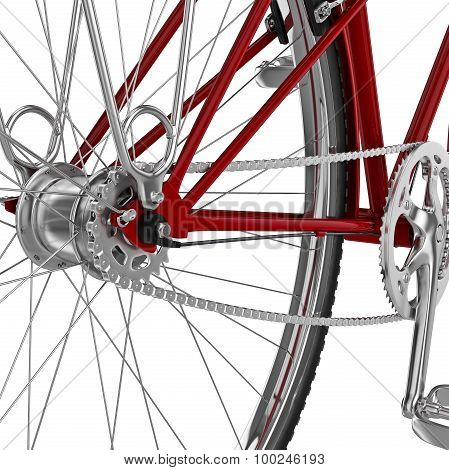Chrome bicycle sprocket. 3D graphic