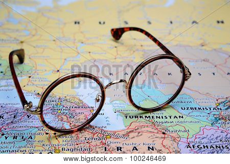 Glasses on a map of Asia - Armenia