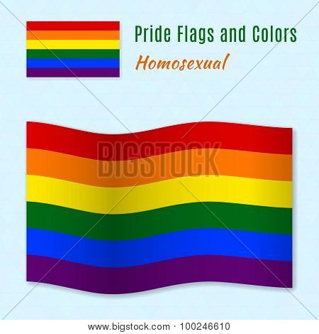 Six-color rainbow gay pride flag with correct color scheme.