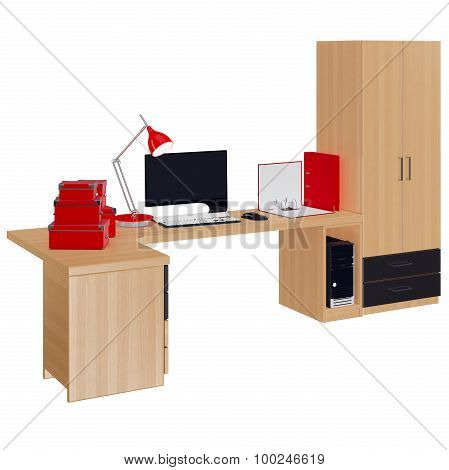 Office furniture elements and whole computer. 3d graphic