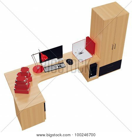 Furniture set for the working place with office stuff. 3d graphic