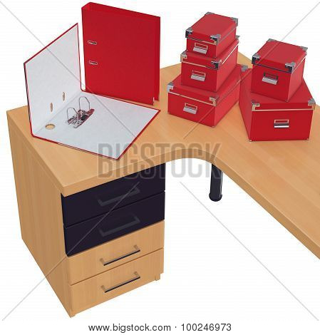 Red colored office folders and paper boxes. 3d graphic