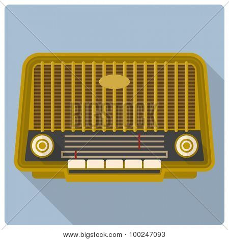Vintage radio vector icon. Retro styled flat design vector icon of vintage radio