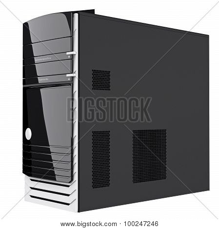 Black colored system block semi side view. 3d graphic