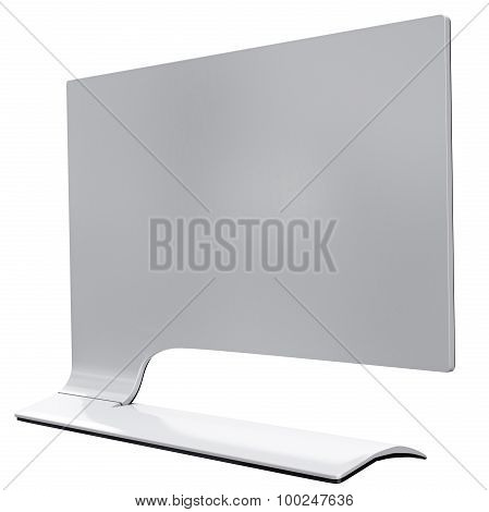 Futuristic workstation monitor of white metal back view. 3d graphic