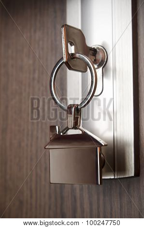 House Key With Silver Chrome Pendant