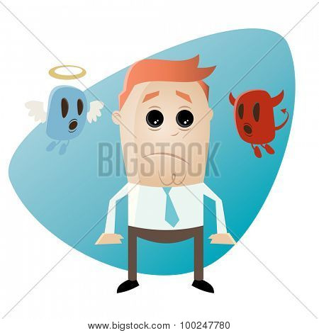 funny cartoon businessman with angel and devil