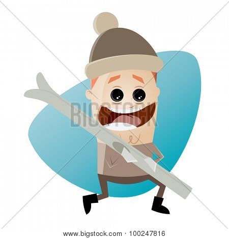 funny cartoon man with skis