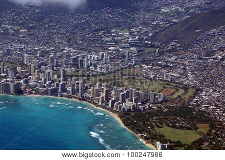 Aerial View Of Diamondhead, Kapiolani Park, Waikiki, Shell, Ala Wai Canal, Kapahulu Town, Highway, P