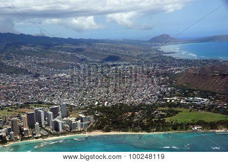 Aerial View Of Diamondhead, Kapiolani Park, Waikiki, Ala Wai Canal, Kapahulu Town, Pacific Ocean, Cl