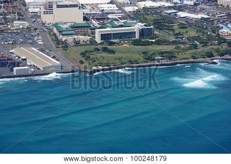 Aerial Of Kakaako Beach Park In Honolulu