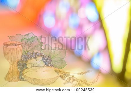 Eucharistic Background, Card Or Poster With Bread And Wine On A Soft Focus Stained Glass Widnow