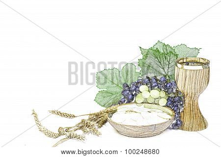 Eucharist Bread And Wine With Grapes And Wheat Color Sketch