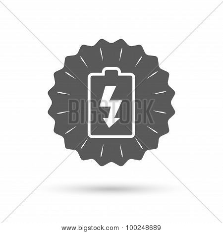 Battery charging sign icon. Lightning symbol.