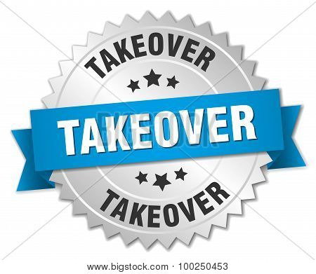 Takeover 3D Silver Badge With Blue Ribbon