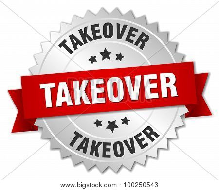 Takeover 3D Silver Badge With Red Ribbon