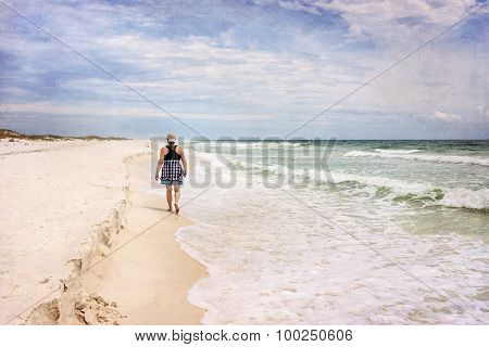 Mature Woman Walking on Beach Art Photograph