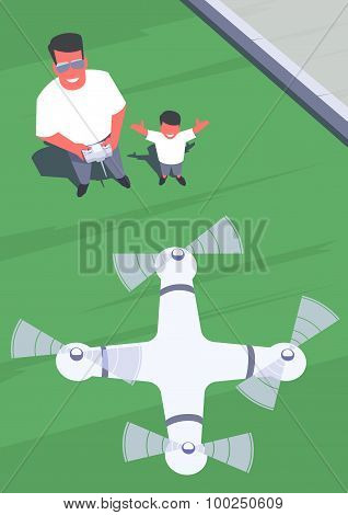 Father and son flying drone.