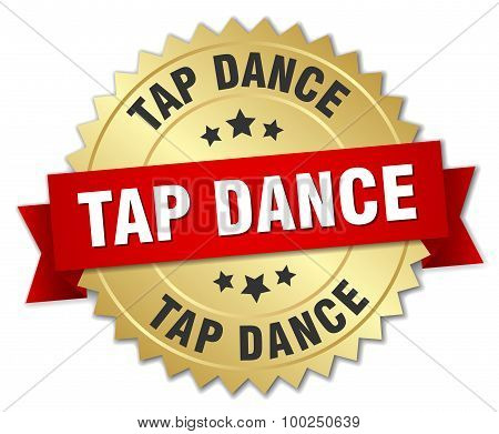 Tap Dance 3D Gold Badge With Red Ribbon