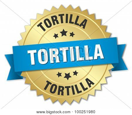 Tortilla 3D Gold Badge With Blue Ribbon