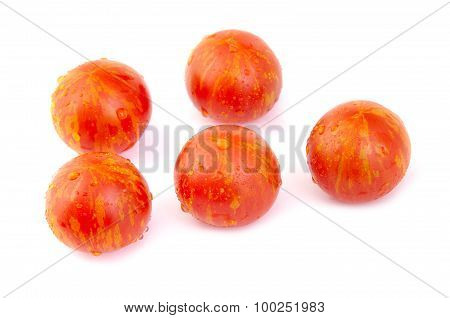 Grape or cherry tomatoes on white background.