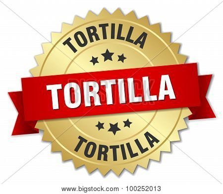 Tortilla 3D Gold Badge With Red Ribbon
