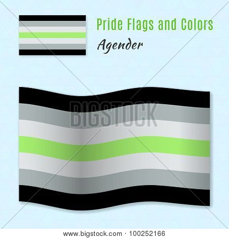 Agender Pride Flag With Correct Color Scheme, Both Still And Waving